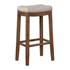 "Linon Claridge 32.5"" Wood Bar Stool in Rustic Brown"