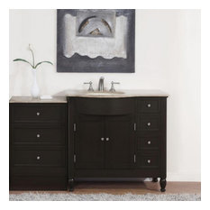 Espresso Bathroom Vanity Cabinet, Choice of Single or Double Sink, Sink on the L