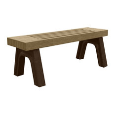Bench, Cambridge Backless, 4', Brown Legs, Weathered Wood color