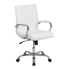 Flash Furniture   Mid Back Leather Executive Swivel Office Chair With  Chrome Arms, White