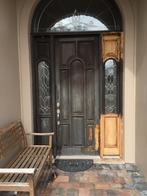 Previous Owners Took This Wooden Front Door And Painted It Black The Gets About 4 Hours Of Partial Sun A Day Here In Central Florida