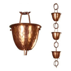 Rain Chain, Copper Hammered Cup, Outdoor/Indoor Use, Pure Copper