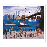 """Beneath The Brooklyn Bridge - Cozy, down-home images of a bygone era when life was simpler - this is the feeling captured in the creations of one of the world's most recognized artists. """"Beneath The Brooklyn Bridge"""" is a limited edition lithograph on paper, numbered and hand signed by Wooster Scott! Includes Certificate of Authenticity! Measures approx. 22"""" x 20"""" (with border), 20"""" x 16"""" (image)"""