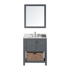 "30"" Single Bathroom Vanity, Cashmere Gray with Carrara Marble Top and Mirror"