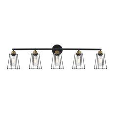 "Elegant Lighting LD4047W42 Auspice 5 Light 42""W Bathroom Vanity - Brass / Black"