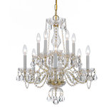 Crystorama - Crystorama Traditional Crystal 10-Light Swarovski Crystal Brass Chandelier - Swarovski Crystal Chandelier. Traditional crystal chandeliers are classic, timeless, and elegant. Crystorama's opulent glass arm chandeliers are nothing short of spectacular. This collection is offered in a variety of crystal grades to fit any budget. For a touch of class, order this collection in Gold for traditionalists or in Chrome to match your contemporary or transitional decor.