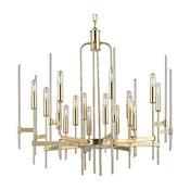 Bari, Sixteen Light Chandelier, Aged Brass Finish, Clear Glass