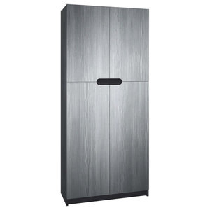 Modern Storage Cabinet, High Gloss Finished MDF, 4-Door, Avola Anthracite