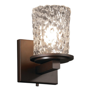 Veneto Luce Dakota Wall Sconce, Cylinder With Rippled Rim, Clear Textured Glass