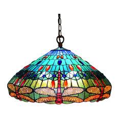 "SCARLET, Tiffany-style 3 Light Dragonfly Hanging Pendant Lamp, 24"" Shade"