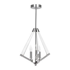 3 Light Chandelier, Polished Chrome with Acrylic Arms