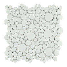 "11""x11"" Quarry Porcelain Mosaic Tiles, Set of 10, White Gloss"