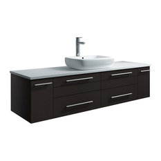 Lucera Wall Hung Bathroom Cabinet With Top & Vessel Sink Espresso 60-inch