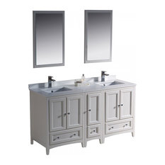 "Fresca Oxford 60"" Antique White Double Sink Bathroom Vanity"