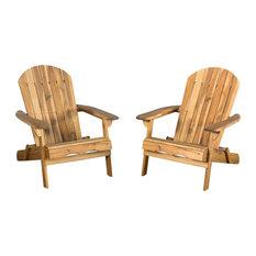 GDF Studio Katherine Outdoor Reclining Wood Adirondack Chairs, Natural, Set of 2