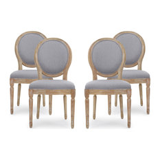 Jerome French Country Dining Chairs, Set of 4, Light Gray, Natural, Fabric, Rubb