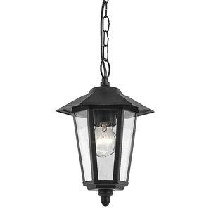 Contemporary Black Die-Cast Hanging Lantern Porch Light Fitting