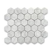 "10.75""x11.875"" Carrara White Hexagon Mosaic Tile Polished, Chip Size 2"""