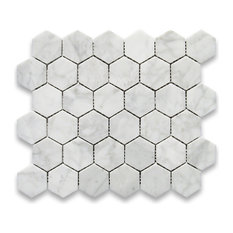 "10.75""x11.875"" Carrara White Hexagon Mosaic Tile Polished, Chip Size 2"""