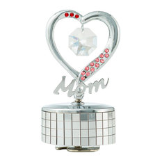 Chrome Plated Mom Heart Wind-Up Music Box Table Top Ornament