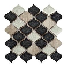 "12""x12"" Galena Gray Lantern Blend Arabesque Mosaic, Set of 5"