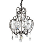 "Amalfi Decor - Tiffany 4-Light Crystal Beaded Wrought Iron Chandelier, Black - Dimensions : 12"" (Length) X 12"" (Width) X 15"" (Height)"