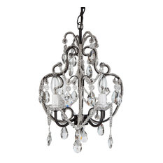 Amalfi Decor - Tiffany 4-Light Crystal Beaded Wrought Iron Chandelier, Black - Chandeliers
