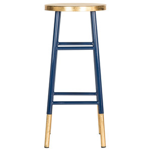 Safavieh Lugo Bar Barstool, Navy and Gold