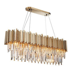 """Gold Plated K9 Crystal Kitchen Island Dining Room Chandelier, Length 35"""""""