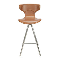 City Faux Leather Curved Bar Stool, Tan