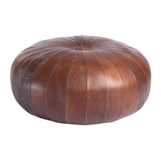 Patch Round Leather Pouffe