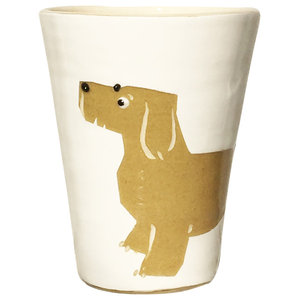 Sand and White Animal Cups, Dachshund, Set of 2