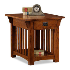 Leick Home   8207, Solid Ash Drawer End Table, Medium Oak Finish   Side
