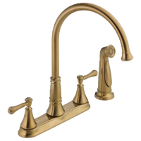 Delta Cassidy Two Handle Kitchen Faucet With Spray, Champagne Bronze, 2497LF-CZ