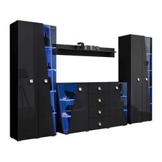 Edge Set SB-BK-BK-SH Modern Wall Unit Entertainment Center Black