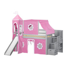 Jackpot - Jackpot Princess Twin Low Loft Gray Stairway Bed, Pink and White Tent and Slide - Loft Beds