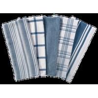 DII Assorted Stone Blue Woven Dishtowel, Set of 5