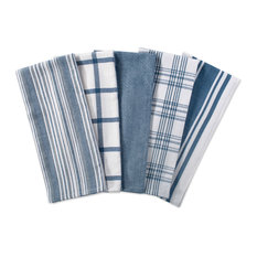 DII Assorted Stone Blue Woven Dishtowel, Set of 5
