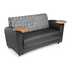 62x33x31 Interplay Double Tablet Sofa, Black and Bronze