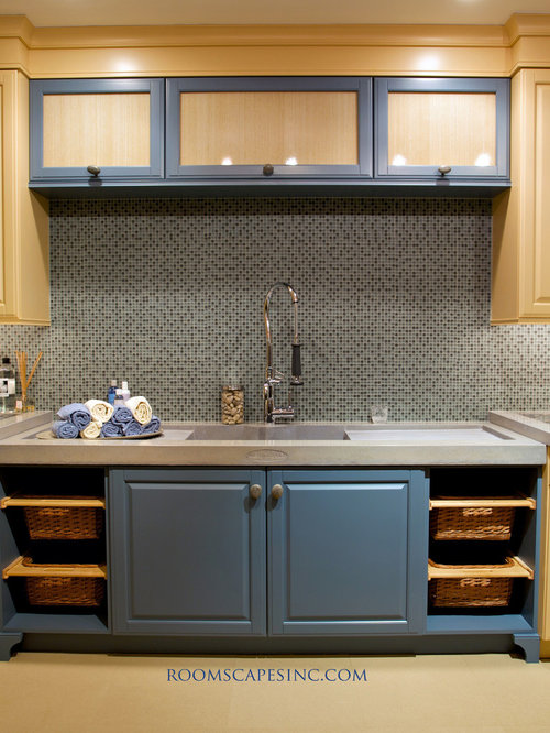 Mid Sized Eclectic Galley Cork Floor Dedicated Laundry Room Idea In Boston  With A Farmhouse