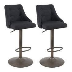 Set Of 2 Tufted Upholstered Adjustable Swivel Stool Black