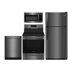 """4-Piece Black Stainless Steel Kitchen Package with FFTR1821TD 30"""" Top Freezer Re"""
