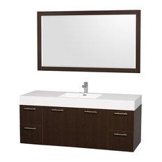 """60"""" Single Vanity, Espresso, Acrylic Resin Top, Integrated Sink, 58"""" Mirror"""