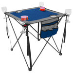 Creative Outdoor Distributor - Folding Wine Table, Blue - Folding Wine Table is compact, light weight and a portable. Perfect  your outdoor activitie table needs at picnics, camping, beach, family gatherings and more.  Features 4 cup and 4 Wine Glass holders. Blue and Gray Material.