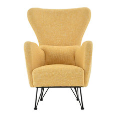 Sofamania   Mid Century Modern Contemporary Shelter Style Accent Chair,  Yellow   Armchairs And Accent