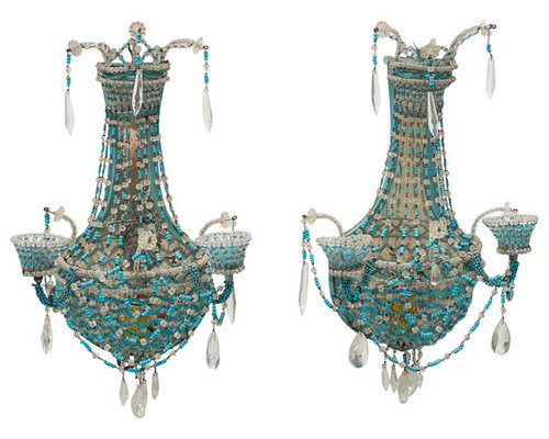 Pair Of Antique Turquoise Beaded Sconces   Wall Sconces