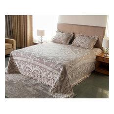 SEVILLE Taupe Colour Woven Jacquard Bedspread Set