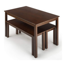 Dining Table Set With 3 Benches Hardwood Construction With Espresso Finish
