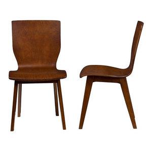 Elsa Mid-Century Modern Dark Walnut Bent Wood Dining Chair, Set Of 2