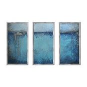 Framed Water Blue Vintage Painting